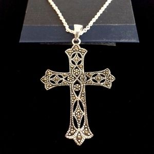 Marcasite Fine Silver Plated Cross Necklace